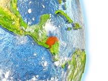 Le Honduras en rouge sur terre illustration de vecteur