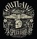 Le hors-la-loi circule en voiture le graphique de T-shirt de vintage illustration libre de droits
