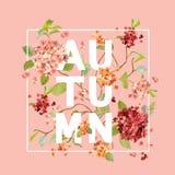 Le Hortensia fleurit le fond Autumn Design dans le vecteur T-shirt Image stock