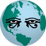 Le horus de vecteur observe le globe d'illustration Photos stock