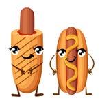Le hot-dog avec le chien de moutarde et de maïs avec le ketchup avec le prêt-à-manger de jambes et de mains de yeux avec le souri Images libres de droits