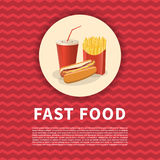 Le hot-dog, les pommes frites et la soude mettent en forme de tasse l'affiche Photo colorée par bande dessinée mignonne des alime photographie stock