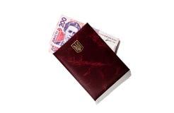 Le hryvnia ukrainien encaissent dedans le document, un paiement illicite d'isolement Image stock