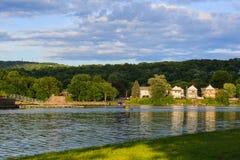 Le Hudson et la rivière de Mohawk regardent la réunion chez Livingston NY Photo libre de droits
