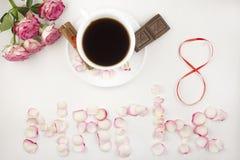 Le huitième mars, café, café de roses image libre de droits