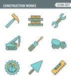 Le icone allineano la qualità premio stabilita dei lavori di costruzione sugli strumenti della costruzione e del sito Stile piano Fotografia Stock