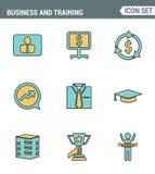 Le icone allineano la qualità premio stabilita di addestramento dell'azienda leader e della gestione aziendale Stile piano di pro Fotografia Stock Libera da Diritti