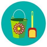 Le icone bucket e pala dei giocattoli nello stile piano Immagine di vettore su un fondo colorato giro Elemento di progettazione,  Fotografia Stock