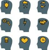 Le icone cape di vettore del cervello hanno messo, rappresentare Immagini Stock