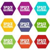 Le icone clobal dello spazio hanno fissato il vettore 9 illustrazione di stock
