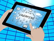 Le icone creative mostra l'illustrazione dell'immaginazione 3d di idee illustrazione di stock