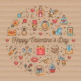 Le icone d'annata del biglietto di S. Valentino, i simboli di amore, linea di infographics del cerchio assottigliano lo stile royalty illustrazione gratis