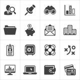 Le icone d'avanguardia dell'economia e di affari hanno messo 3 Vettore Fotografie Stock Libere da Diritti