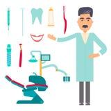 Le icone decorative piane di cure odontoiatriche dello stomatologo hanno messo con gli strumenti dello stomatologo Fotografie Stock
