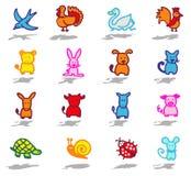 le icone degli animali hanno impostato 1 Fotografie Stock Libere da Diritti