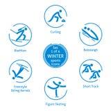 Le icone degli sport invernali hanno messo, 1 di 4, pittogrammi di vettore Fotografia Stock