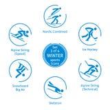 Le icone degli sport invernali hanno messo, 3 di 4, pittogrammi di vettore Immagine Stock