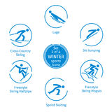 Le icone degli sport invernali hanno messo, 2 di 4, pittogrammi di vettore Fotografia Stock