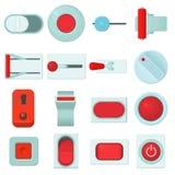 Le icone dei bottoni di web di interruttore on-off hanno messo, stile del fumetto illustrazione vettoriale