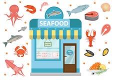 Le icone dei frutti di mare hanno messo con lo stabile adibito a uffici, il pesce, il polipo, il calamaro, il gamberetto, granchi Fotografie Stock Libere da Diritti