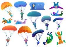 Le icone dei paracadutisti hanno messo, stile del fumetto royalty illustrazione gratis