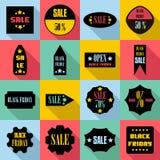 Le icone dei segni di vendite di Black Friday hanno messo, stile piano Fotografia Stock Libera da Diritti
