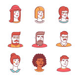 Le icone dei visi umani assottigliano la linea insieme hipsters Immagine Stock