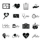 Le icone del battito di impulso del cuore hanno messo, stile semplice Immagini Stock Libere da Diritti