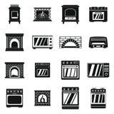 Le icone del camino della stufa del forno hanno messo, stile semplice Fotografia Stock Libera da Diritti
