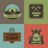 Le icone del campeggio estivo hanno fissato il vettore di ENV 10 Immagini Stock Libere da Diritti