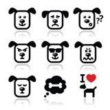Le icone del cane hanno messo - felice, triste, arrabbiato su bianco Fotografie Stock Libere da Diritti