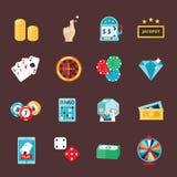 Le icone del casinò hanno messo con l'illustrazione di vettore dello slot machine del burlone del giocatore delle roulette Immagine Stock