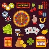 Le icone del casinò hanno messo con lo slot machine del burlone del giocatore delle roulette isolato sull'illustrazione bianca di Fotografie Stock