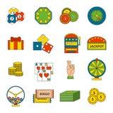 Le icone del casinò messe con lo slot machine del burlone del giocatore delle roulette hanno isolato l'illustrazione di vettore Fotografie Stock