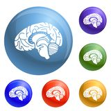 Le icone del cervello umano hanno fissato il vettore illustrazione di stock
