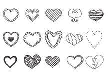 Le icone del cuore di scarabocchio hanno messo, illustrazioni disegnate a mano di vetor Immagini Stock Libere da Diritti