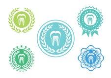 Le icone del dente hanno messo, insieme di logo del dente, insieme di etichetta del dente Fotografie Stock