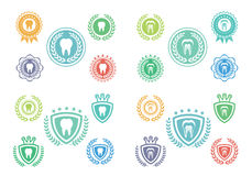 Le icone del dente hanno messo, insieme di logo del dente, insieme di etichetta del dente Fotografia Stock Libera da Diritti