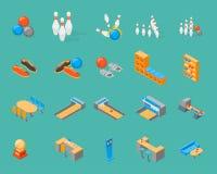 Le icone del gioco di bowling hanno fissato la vista isometrica Vettore Immagine Stock Libera da Diritti