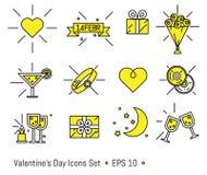 Le icone del giorno del biglietto di S. Valentino s hanno messo nella linea stile di arte Immagini Stock