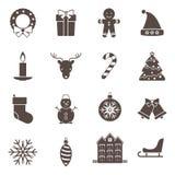 Le icone del nuovo anno e di Natale hanno messo con i simboli di vettore di festa di tradutional Fotografia Stock