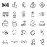 Le icone del Regno Unito assottigliano la linea insieme dell'illustrazione di vettore Fotografia Stock Libera da Diritti