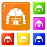 Le icone del rivestimento del pompiere hanno fissato il colore di vettore royalty illustrazione gratis