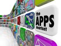 Le icone del software applicativo della parete del mercato di Apps Immagine Stock