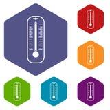 Le icone del termometro hanno fissato l'esagono Fotografia Stock