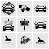 Le icone dell'autolavaggio (segni) hanno messo di pulizia del grafico di vettore automobilistico illustrazione vettoriale