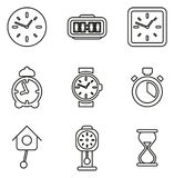 Le icone dell'orologio o dell'orologio assottigliano la linea insieme dell'illustrazione di vettore royalty illustrazione gratis