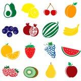 Icone della frutta messe Fotografie Stock Libere da Diritti