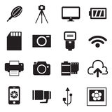Le icone della macchina fotografica e le icone degli accessori della macchina fotografica vector l'illustrazione Immagine Stock Libera da Diritti