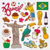Le icone della natura e della cultura del Brasile scarabocchiano l'illustrazione stabilita di vettore Fotografie Stock Libere da Diritti